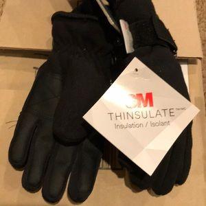 New Tek Gear black thinsulate fleece gloves boy
